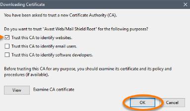 Avast Internet Security – export certificat – Astuces